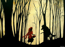 Red Riding Hood wolf storybook illustration dark ACEO Giclee art print Criswell