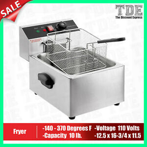 Deep Fryer Commercial Countertop Electric Fryer 1 Basket 110V, 1600W 10lb New