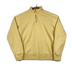 EDDIE BAUER - Men's Large Tall - 1/4 Zip Pullover Cotton Mix Sweatshirt, Yellow