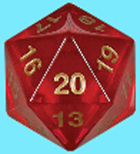 KOPLOW GAMES 55MM TRANSLUCENT RED w/ GOLD DIE D20 Countdown Ruby Magic Gathering