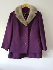 Ladies Vintage Hyvogue Purple Wool Jacket With Silver Mink Collar And Skirt M/L