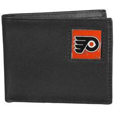 philadelphia flyers logo nhl ice hockey leather bi-fold wallet usa made
