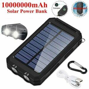 2021 Waterproof Solar Power Bank 10000000mAh Portable External Battery Charger