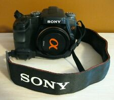 SONY ALPHA  A100 BLACK DIGITAL SLR CAMERA BODY 10.2 MP w/LENS COVER & STRAP