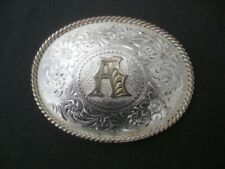 Vintage Western Letter A Initial Montana Silversmiths Belt Buckle Silver Plate