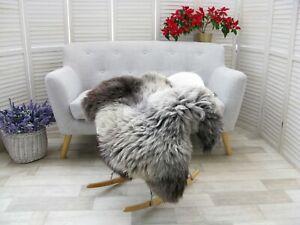 Sheepskin Rug Genuine British HERDWICK Real Soft Dense Fur Natural Shaggy J93
