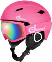Odoland Snow Ski Helmet and Goggles Set for Kids XS(48-50cm) Pink