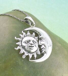 Sun Crescent Moon Pendant ONLY - Celestial Face Sterling Silver 925 wh113
