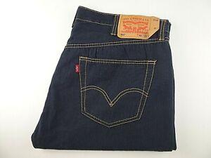 """LEVIS 501 Mens Jeans Blue Striped Cotton Straight Leg W40 L32 Waist 40"""" Leg 32"""""""