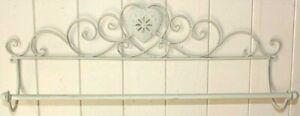 Metal Towel Rail Distressed Cream Metal Heart Design Wall Mounted 55cm width