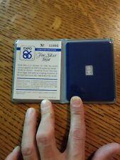 1986 Expo Canada One Gram Fine Silver Ingot .999 Booklet
