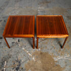 Mid Century Danish Modern End Tables Side Dux Square Teak Low Cube Nightstands