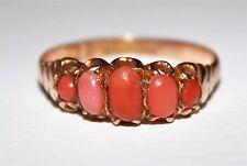 VINTAGE Antico 9 CT Oro graduato 5 pietra anello di Corallo Rosa Taglia S