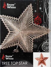 Large Glitter Champagne Gold Star Christmas Tree Top Topper Decoration