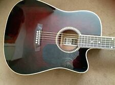Ashton vino y ébano Guitarra Acústica Electro D25CEQ + Bolso para Concierto etc.