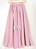 Women Pink Maxi Skirts Lady Retro Elastic Waist Girl Jupe Dress Chiffon 2 Layer
