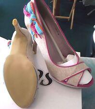 STUNNING SDS Beige/Pink/Blue - platform peep toe stiletto shoes - size 38 - NEW