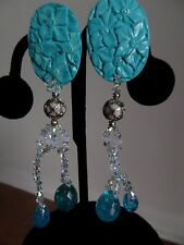 Carved Flowers Turquoise Topaz Crystals Clip on Long  Earrings