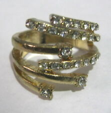 Lovely gold tone metal ring with pretty white stone decoration size M