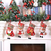 Christmas Stocking Mini Sock Santa Claus Candy  Bag Xmas Tree Hanging Decor Gift