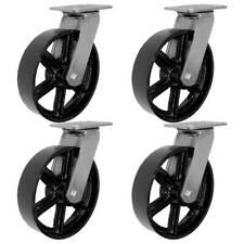 "4 Pack 8"" Vintage Caster Wheels Swivel Plate Black Iron Casters No Brake"