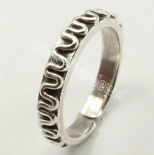 .925 Solid Sterling Silver Flexible Adjustable Oxidized Toe Ring Made In India