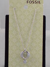 Fossil Brand Sterling Silver Pave Ring Cubic Zirconia Pendant Necklace JF15863