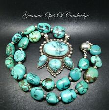 Large 925 Stirling Silver Tibetan Turquoise Necklace 140g