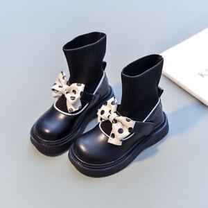 New Autumn Bow Kids Girls British Style Boots Korean Fashion Stretch Socks shoes