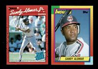 1990 SANDY ALOMOR JR. 2 Card LOT Topps Traded  #2T & DONRUSS RATED ROOKIE #30