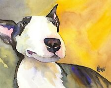 Bull Terrier Dog 8x10 Art Print Signed by Artist Ron Krajewski