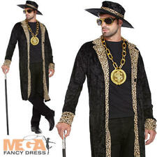1970s Black Pimp Costume + Hat 70s Fancy Dress Party Mens Adult Gangster Outfit