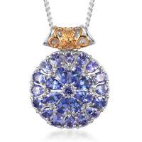 "925 Silver Yellow Gold Platinum Over Blue Tanzanite Pendant Necklace 20"" Ct 4.9"