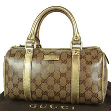 Auth GUCCI GG Crystal Canvas Leather Mini Boston Hand Bag Italy F/S 16252bkac