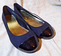 🥿 Thalia Sodi Ballet Flats size 9.5 M Rich Black Suede; Black Patent Cap Toes