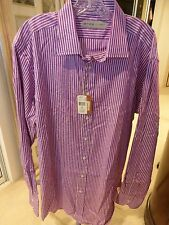 Etro Men's Long Sleve Size 44 Purple Paisley 100% Cot Standard Cuff NWT SRP $315