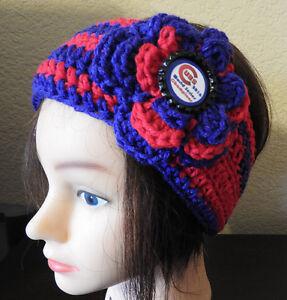 RED BLUE CUBS WORLD SERIES Headband Ear Warmer Handmade Crochet With Flower NEW