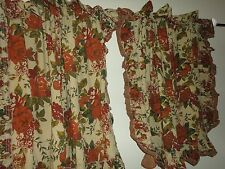 JCP PENNEY ADELLE CAPE COD FLORAL CINNAMON GREEN WARM (PAIR) CAFE TIER CURTAINS
