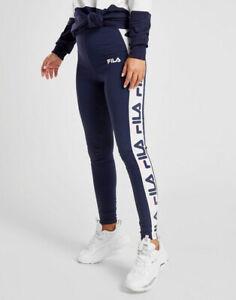 Fila Womens Girls Navy Blue Panel Cotton Stretch LOGO Leggings Joggers Trackpant
