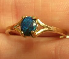 14K VINTAGE NATURAL BLACK OPAL OVAL CABOCHON SOLITAIRE ANNIVERSARY RING WOW