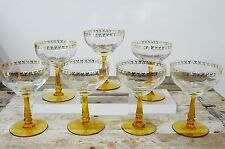 Fabulous Vintage 7 Champagne Saucers Coupes Amber Stem Gold Gilt Leaves
