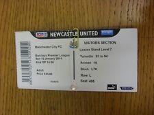 12/01/2014 Ticket: Newcastle United v Manchester City  (folded/creasing). Thanks