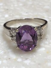 14k White Gold Purple Topaz With Natural Diamonds Ring