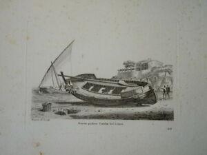 BELLE GRAVURE PAYSAGE MARINE BATEAU VOILIER CATALOGNE ESPAGNE CATALAN MER 1810