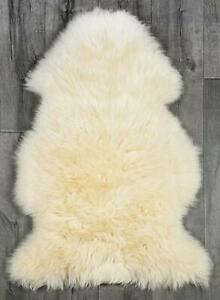 Genuine Real Sheepskin Rug Champagne Sheepskin Rug Single Pelt Wool Fur Throw.