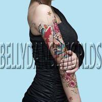 Large Pink peony flower koi carp fish FULL ARM temporary tattoo japanese style