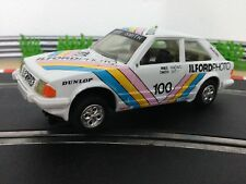 Scalextric Car Ford Escort XR3i White C389 Ilford Photos With Lights & New Rears