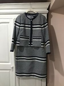 J. CREW Navy Blue And White Dress And Jacket Suit. Size US8, UK12-14. NEW!