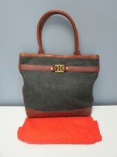 TORY BURCH Gray Brown Leather Fabric Magnetic Snap 2 Handle Tote Purse B4490