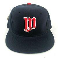 Vintage Minnesota Twins New Era Pro Model 100% Wool Fitted Hat Cap Navy Blue
